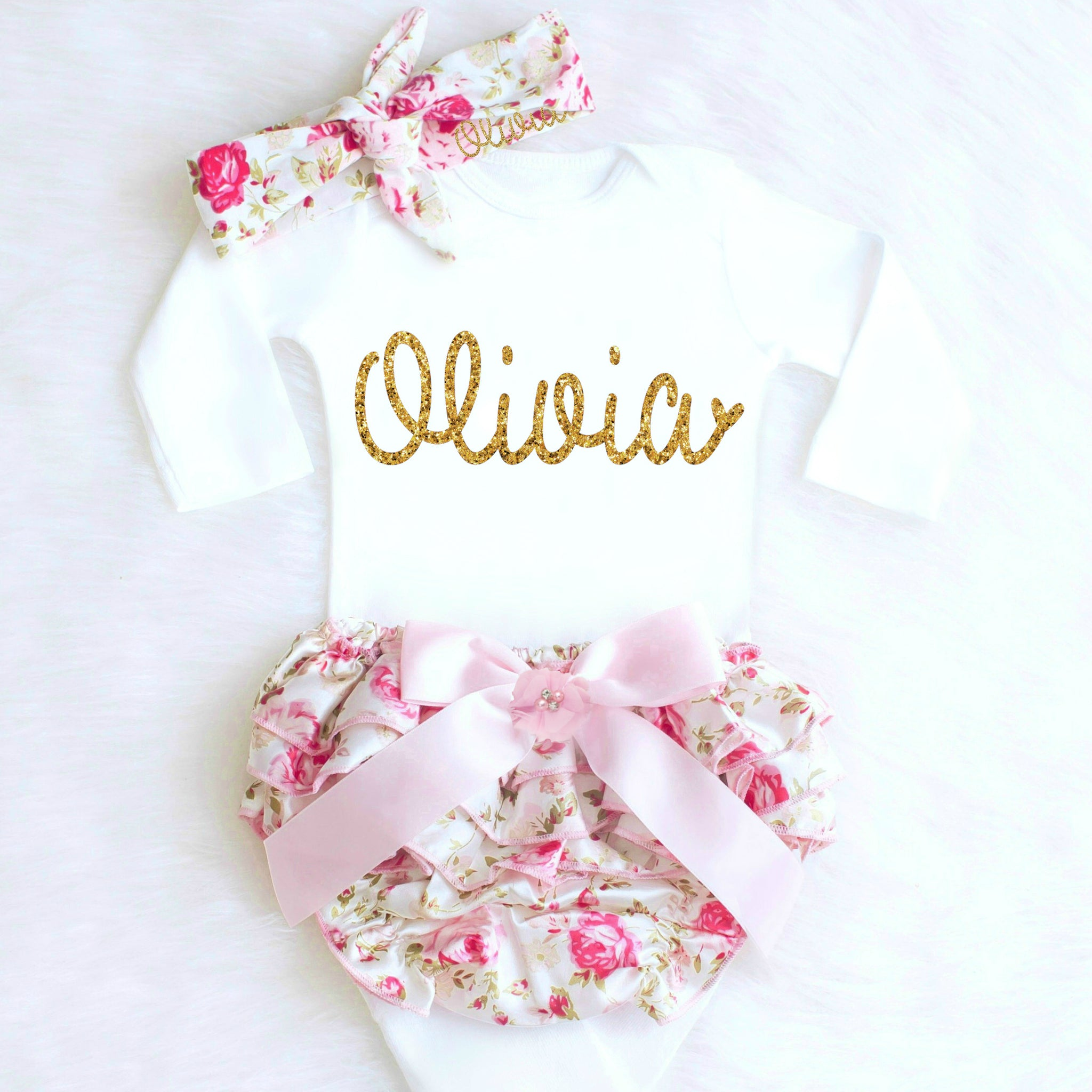 968b4bb55174 Personalized Baby Girl Going Home Outfit with Name