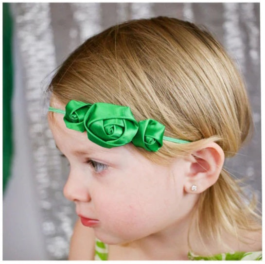 Green Satin Rose Headband