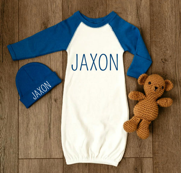 Personalized Baby Boy Outfit - Blue and White