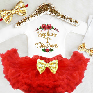 e05c3b207 Personalized Girls 1st Christmas Outfit