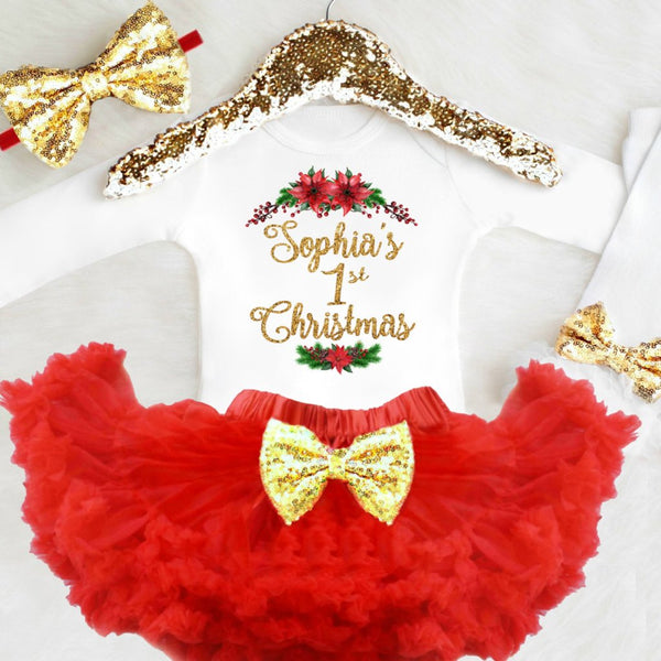 Christmas Outfit.Personalized Girls 1st Christmas Outfit