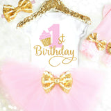 Cupcake Birthday Outfit Pink and Gold Cupcake First Birthday Outfit