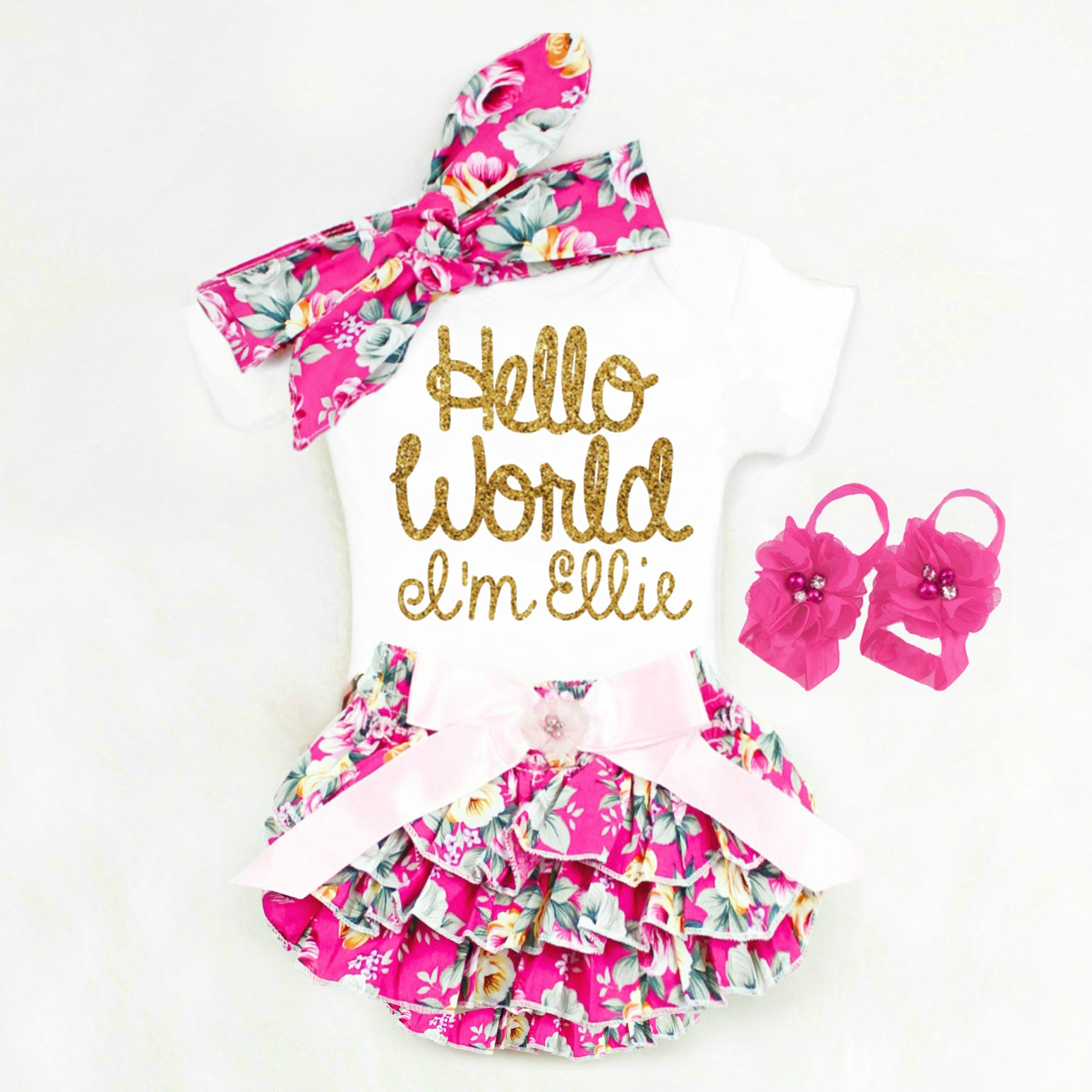9ada9806c4a Hello World Onesie Baby Girl Take Home Outfit Personalized