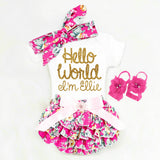 Baby Girl Hello World Outfit - Minnie Mouse Birthday Outfit