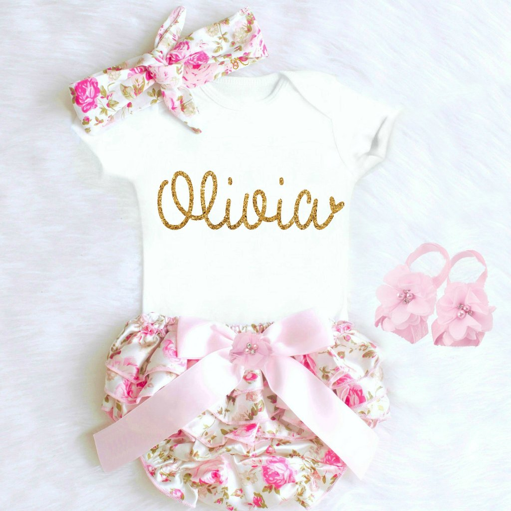 Personalized Baby Girl Going Home Outfit with Name