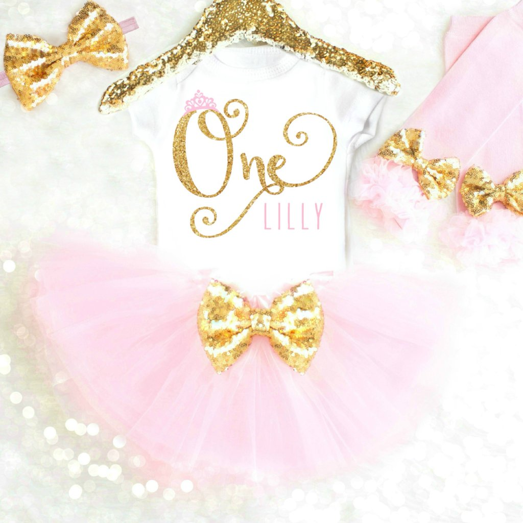 8e858598d Personalized Princess First Birthday Outfit Pink and Gold