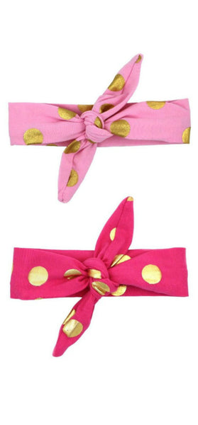 Pink and Gold Dot Headwrap