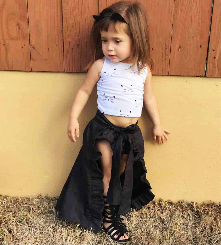 Black Bow Wrap Skirt Set
