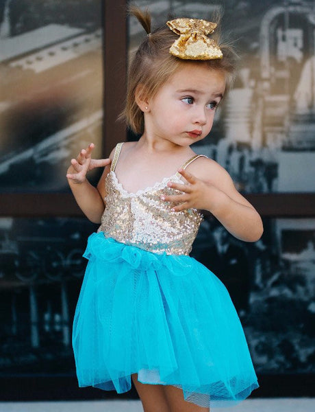 TURQUOISE AND GOLD SPARKLE DRESS