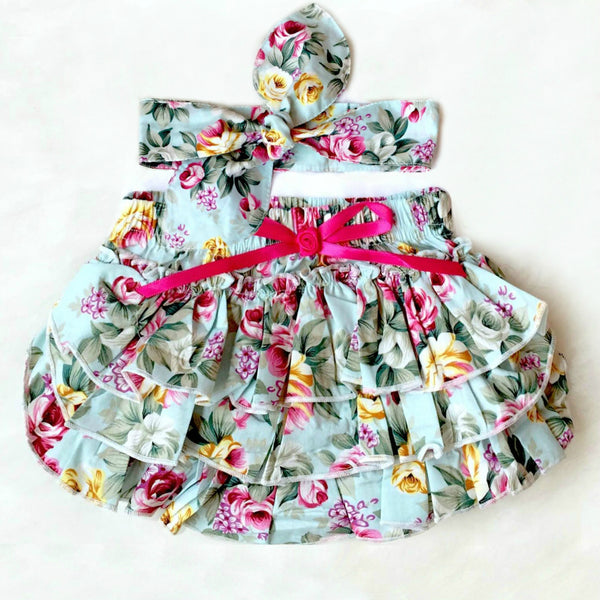 Blue Floral Bloomer Set