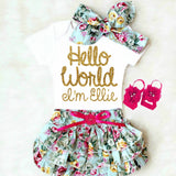 Hello World Baby Girl Outfit with Baby Bloomers and Personalized Onesie