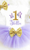 Butterfly Birthday Outfit Purple and Gold Personalized Butterfly First Birthday Outfit