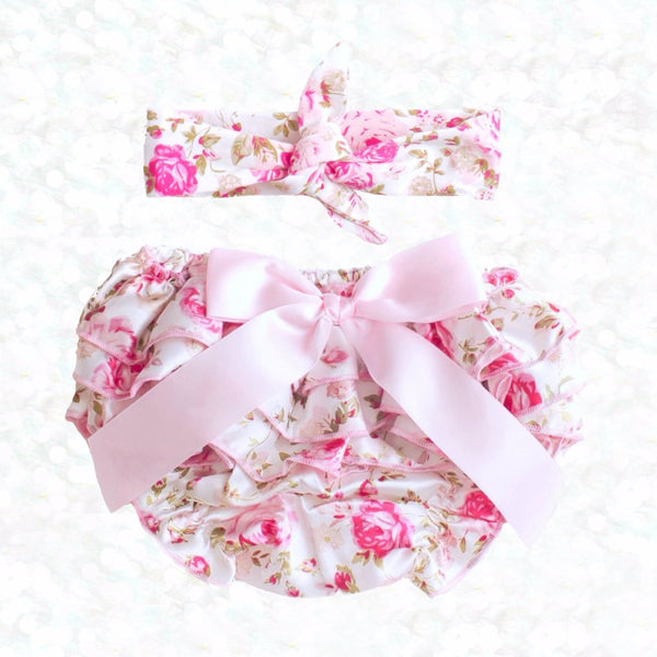 Floral Satin Bloomer Set