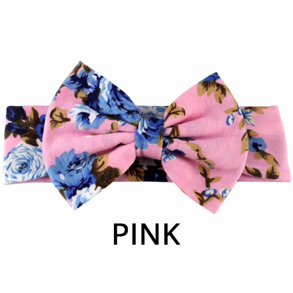 FLORAL BOW HEADBAND - PINK