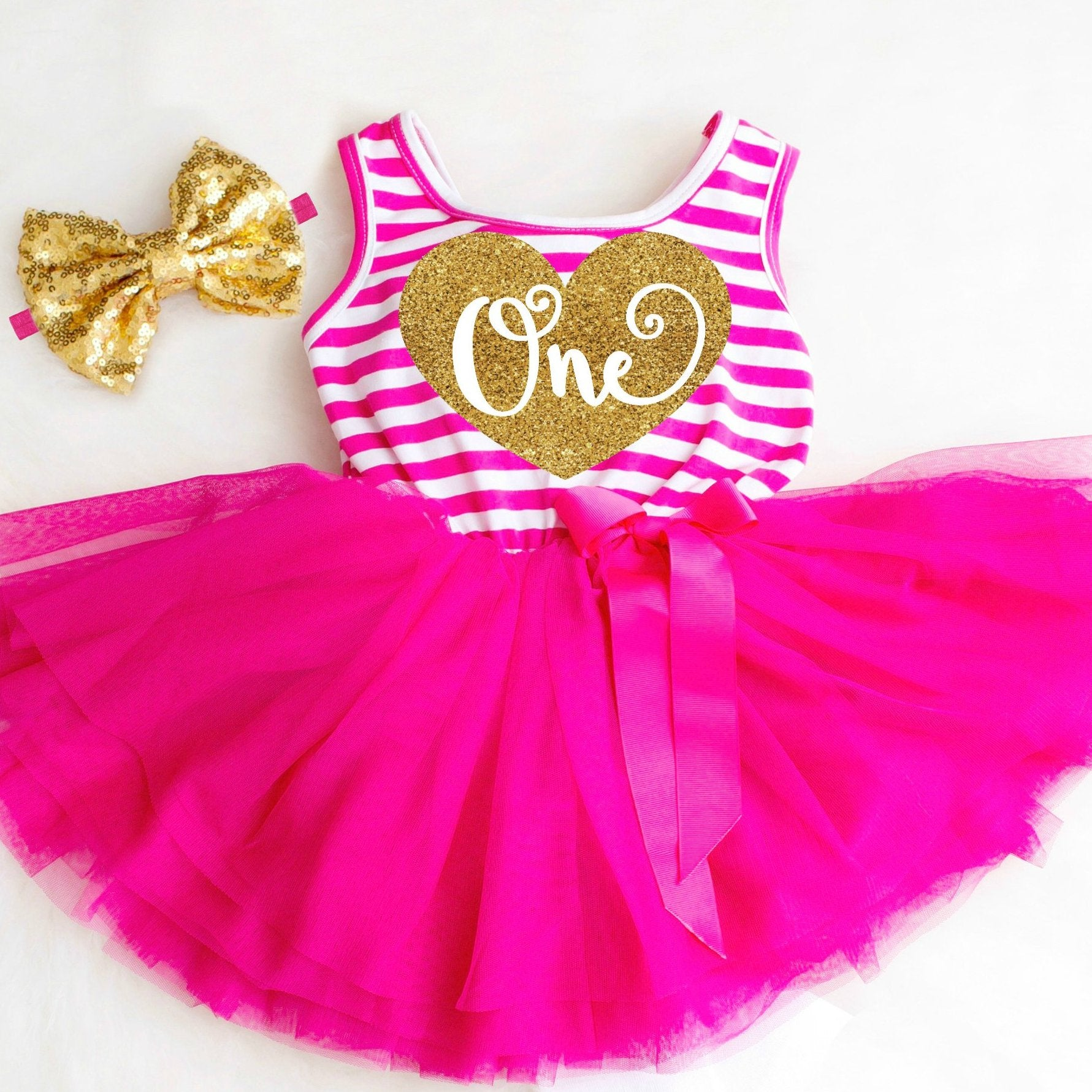3e35fde7f Pink and Gold 1st Birthday Dress