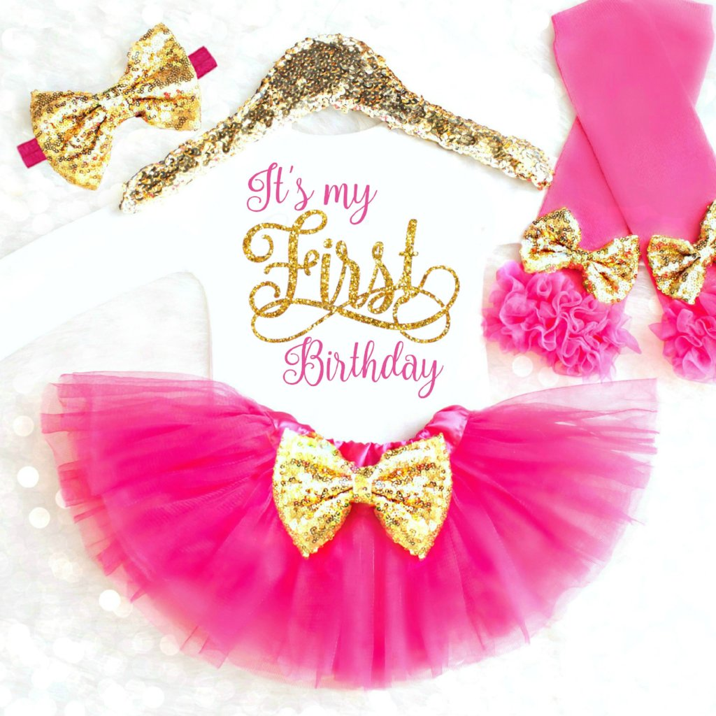 Tutu First Birthday Outfit Girl Pink and Gold First Birthday Outfit Gold First Birthday Outfit Tutu Dress Girls First Birthday Outfit