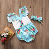Floral Baby Romper Set Aqua - Minnie Mouse Birthday Outfit