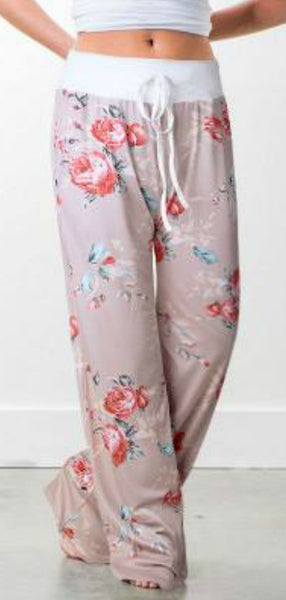 Floral Lounge Pants - Tan