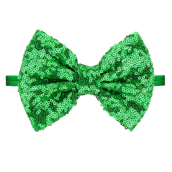 Green Sequin Bow Headband