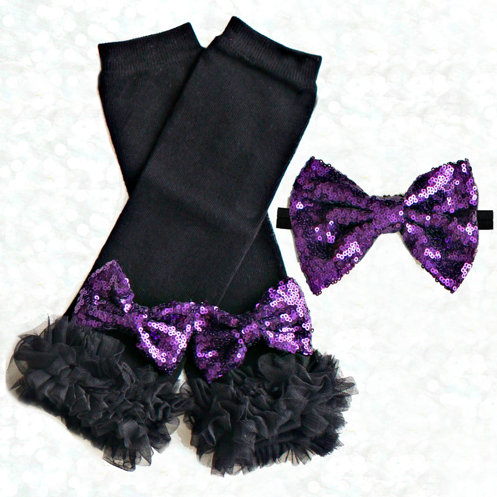 Black and Purple Legwarmers