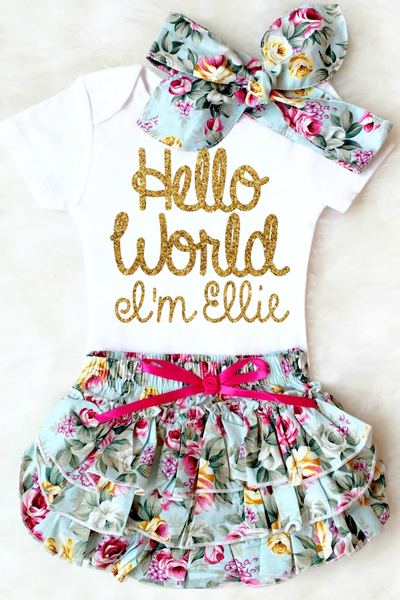 HELLO WORLD BABY GIRL OUTFIT