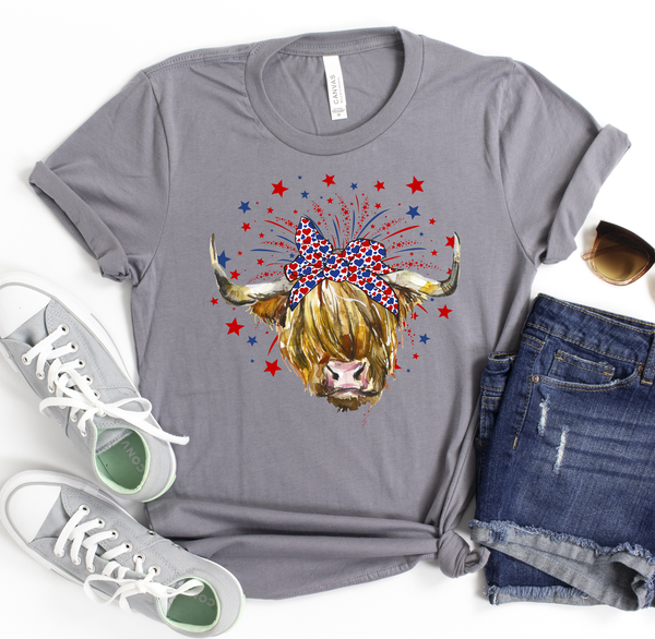Highland Cow Patriotic Tee