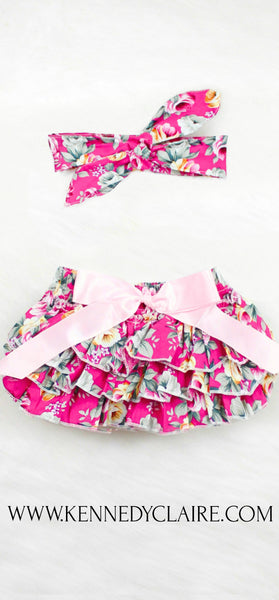 Pink Floral Bloomer Set