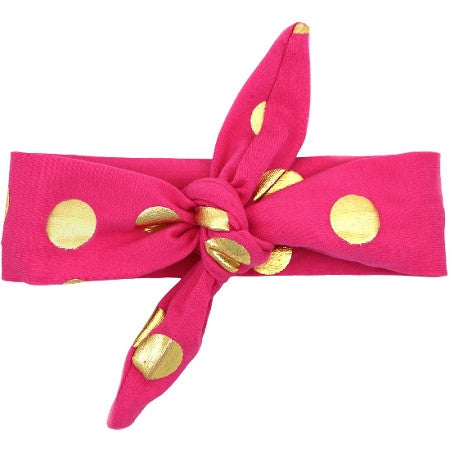 Hot Pink Gold Dot Knot Headband