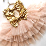 Fancy Toddler Dress Gold and Pink Sequin Toddler Dress
