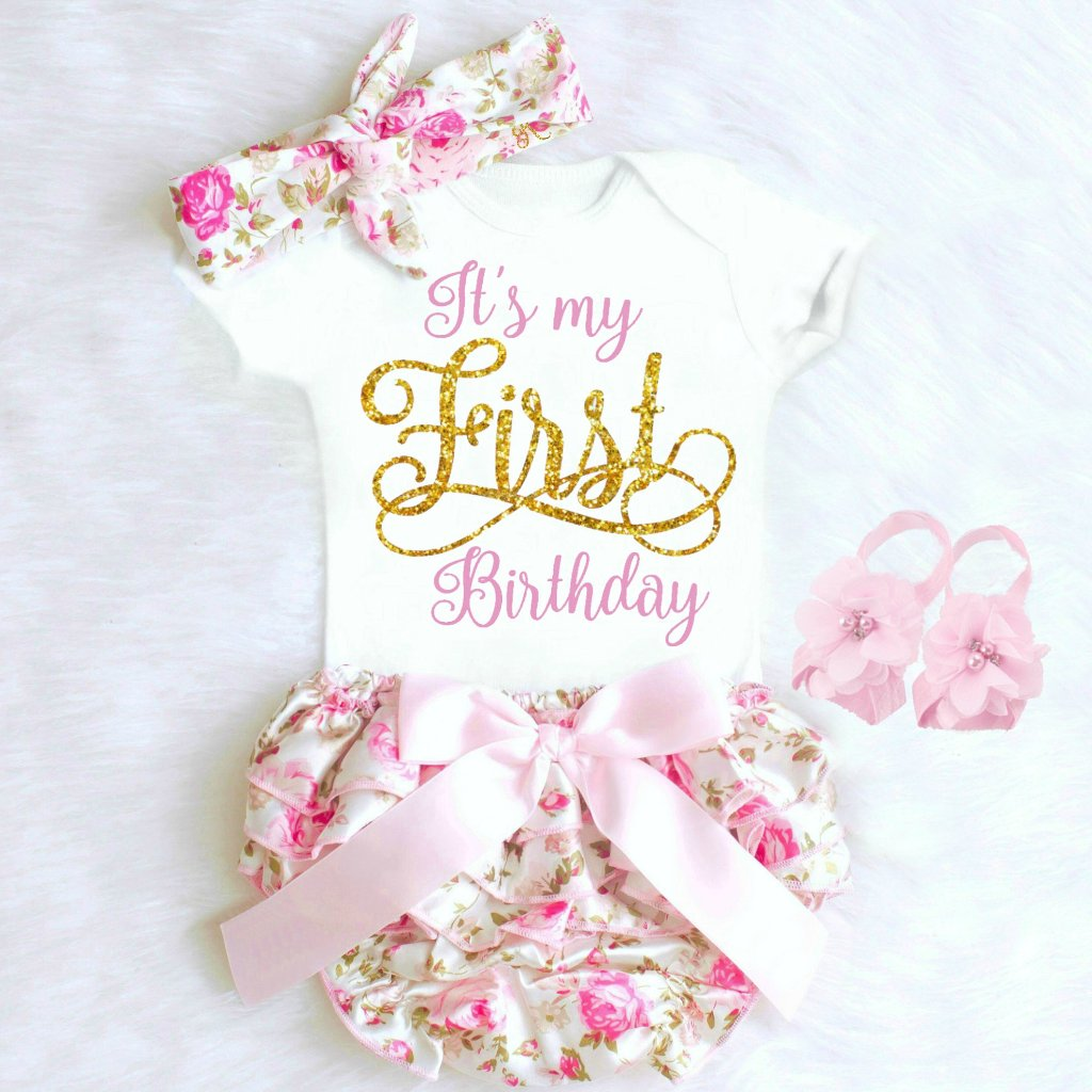 Baby Girl Birthday Outfit Floral Bloomer