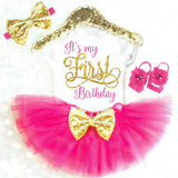PINK AND GOLD GIRLS FIRST BIRTHDAY OUTFIT - Minnie Mouse Birthday Outfit