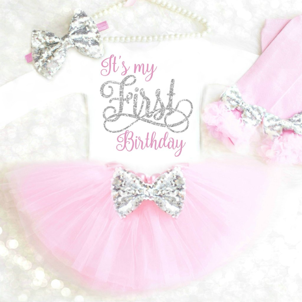 4596707ef Pink and Silver First Birthday Outfit | Silver and Pink 1st Birthday ...