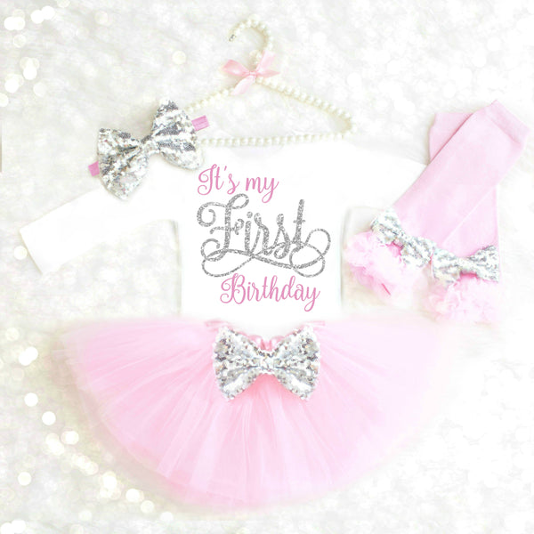 PINK AND GOLD GIRLS FIRST BIRTHDAY OUTFIT
