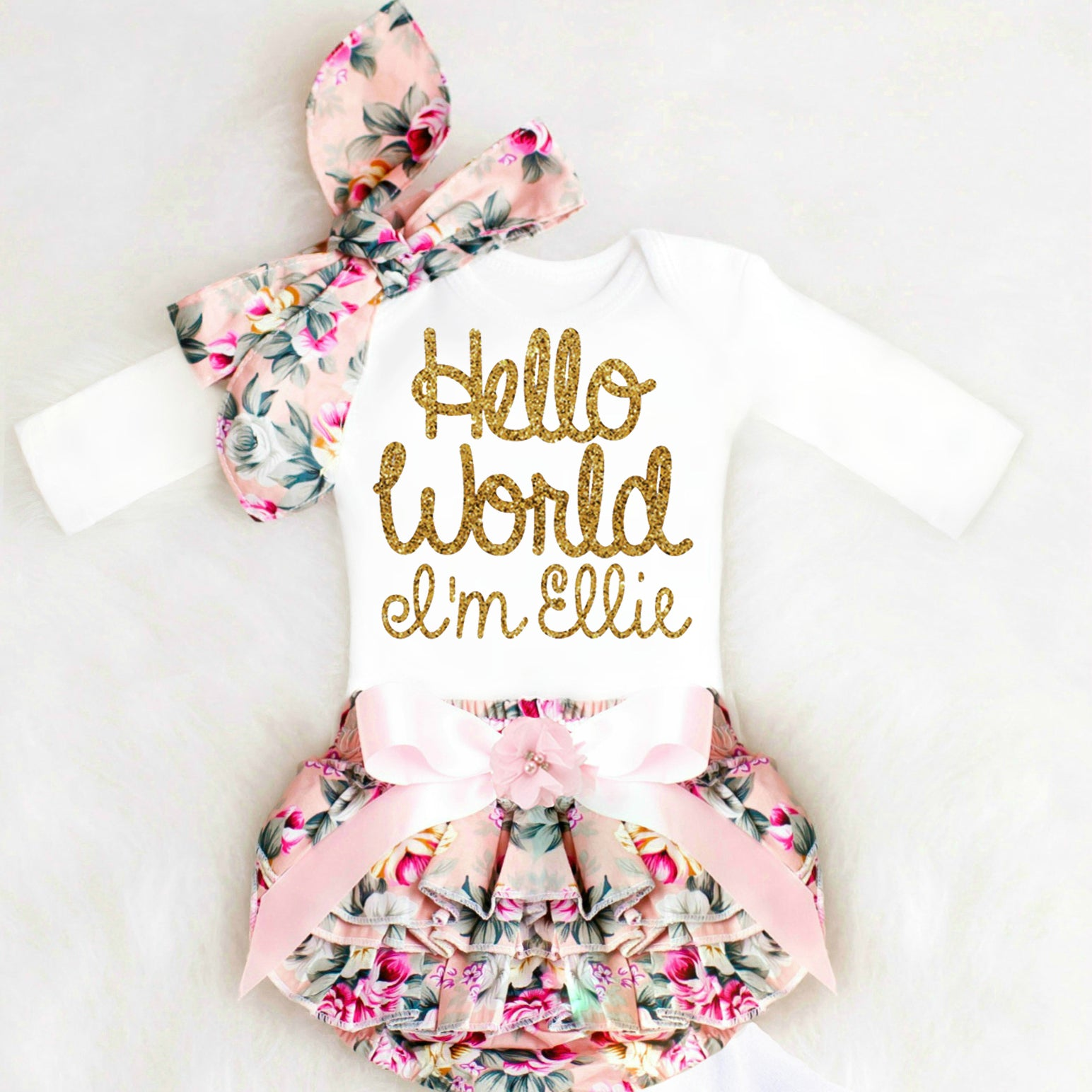 3d2db523b9d1 Personalized Baby Girl Coming Home Outfit