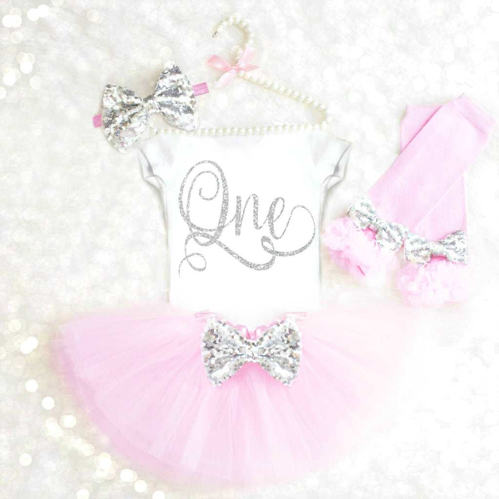 PINK AND SILVER 1ST BIRTHDAY OUTFIT - ANY AGE