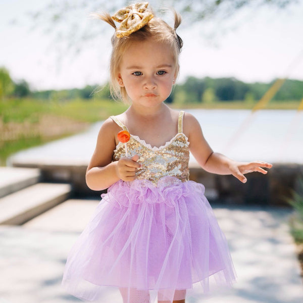 PURPLE AND GOLD SPARKLE DRESS