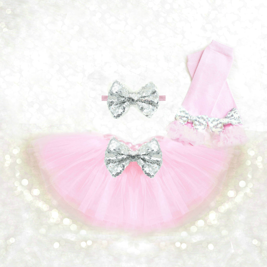 Pink and Silver Tutu Set