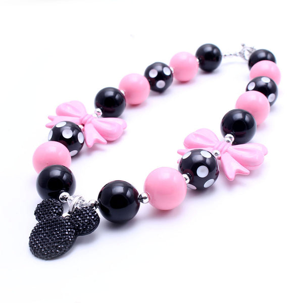 Minnie Mouse Necklace Pink and Black