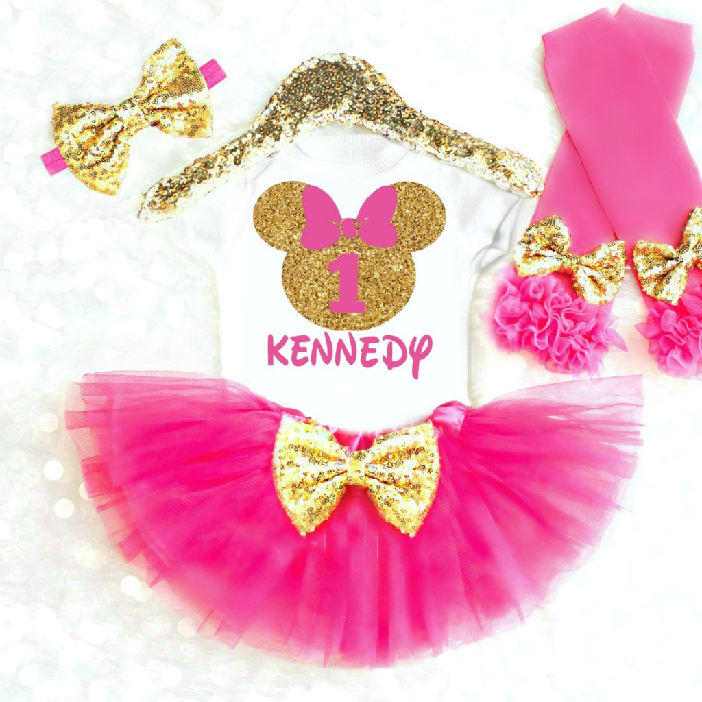 8160a2518 MOUSE FIRST BIRTHDAY OUTFIT. MOUSE FIRST BIRTHDAY OUTFIT - Minnie Mouse  Birthday Outfit. Pink and Gold ...