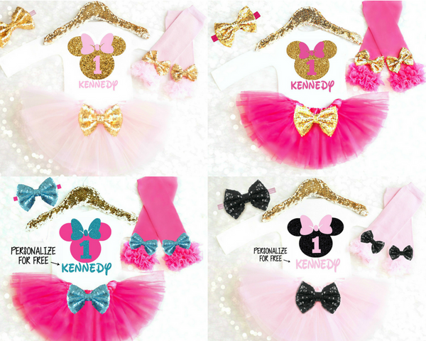 MOUSE BIRTHDAY OUTFIT PINK AND AQUA