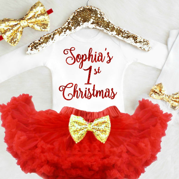 Baby Girl 1st Christmas Outfit Personalized