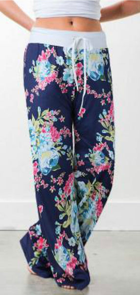 Floral Lounge Pants Navy