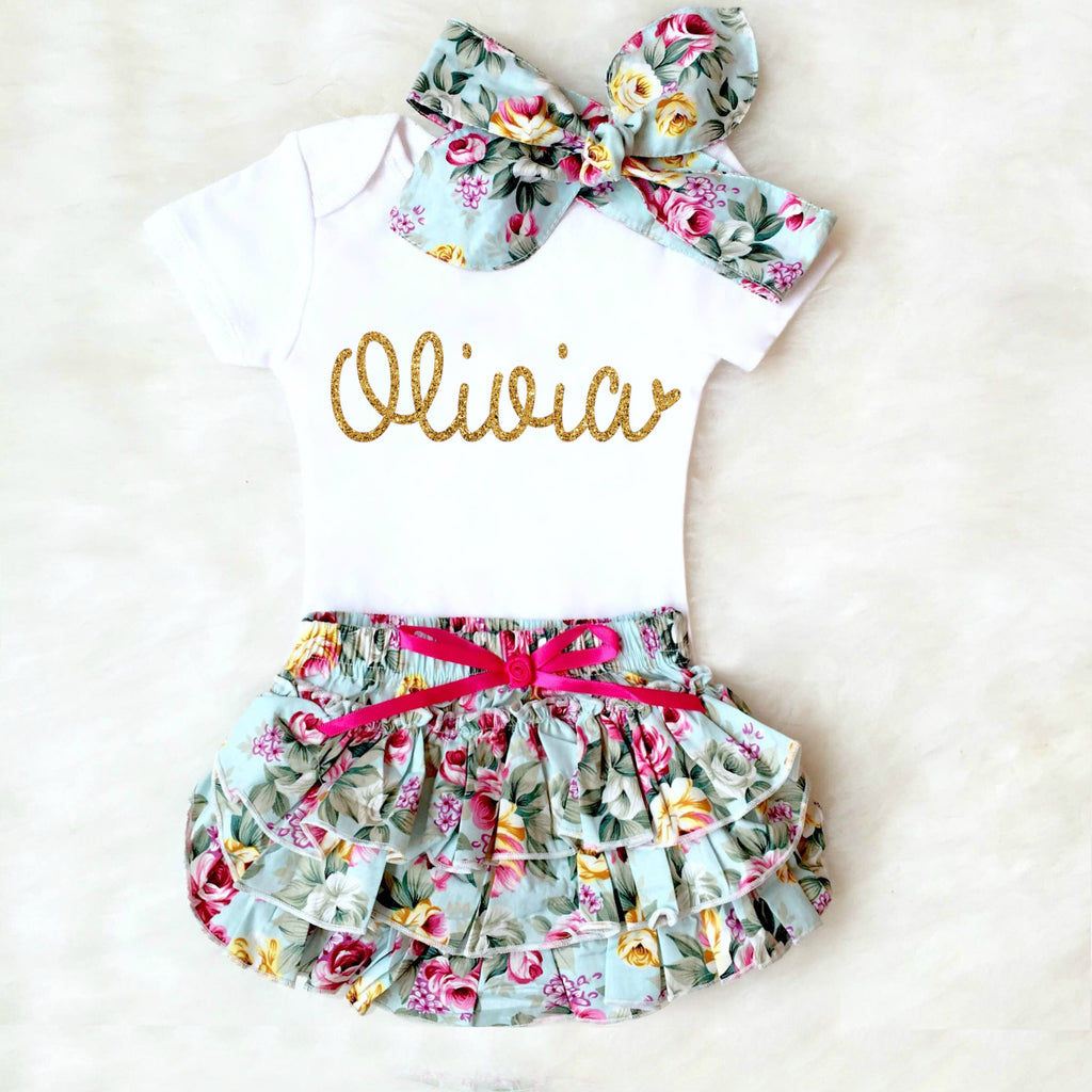 PERSONALIZED BABY GIRL OUTFIT - BLUE FLORAL BLOOMER