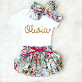 PERSONALIZED BABY GIRL OUTFIT - BLUE FLORAL BLOOMER - Minnie Mouse Birthday Outfit