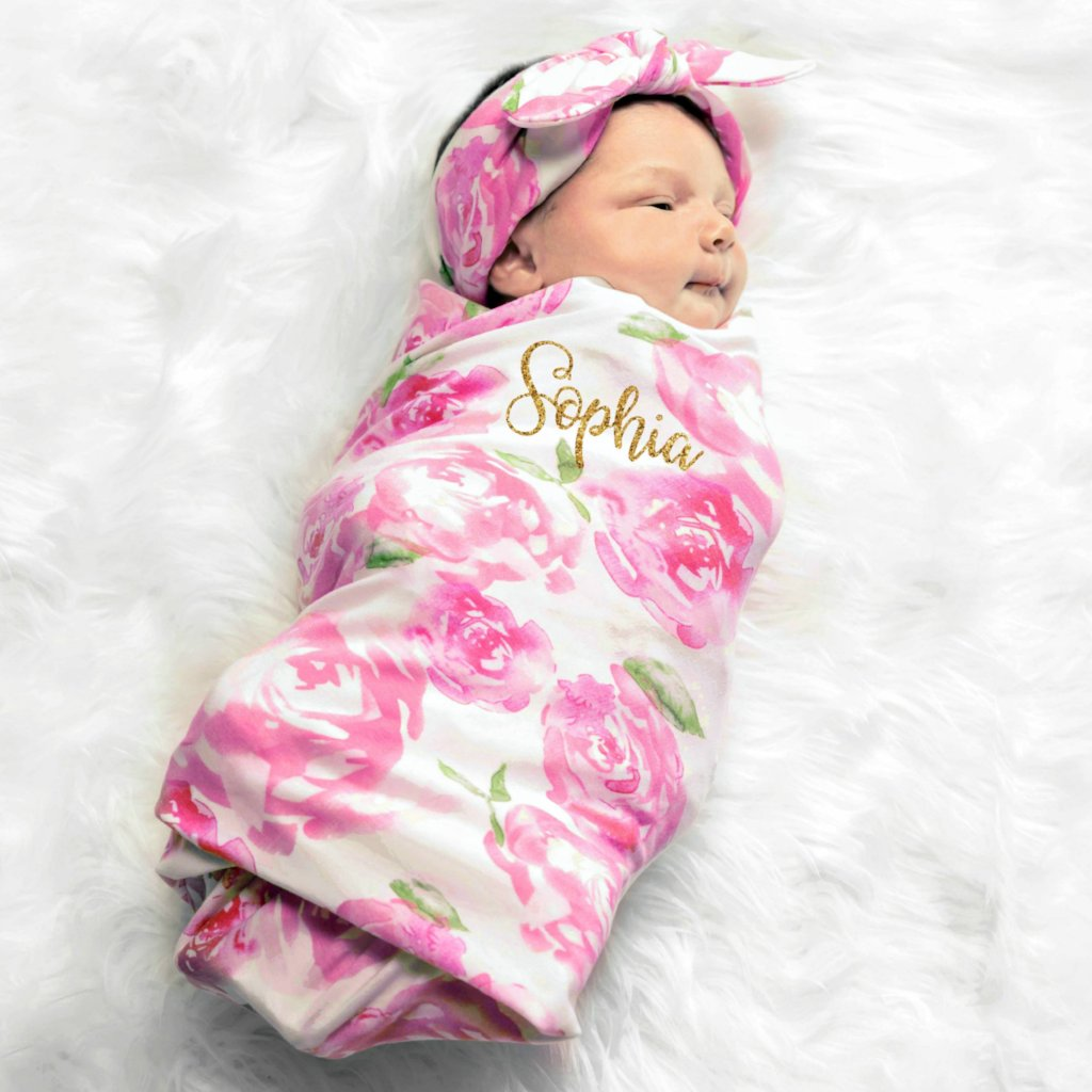 Personalized Baby Blanket Pink & White Floral