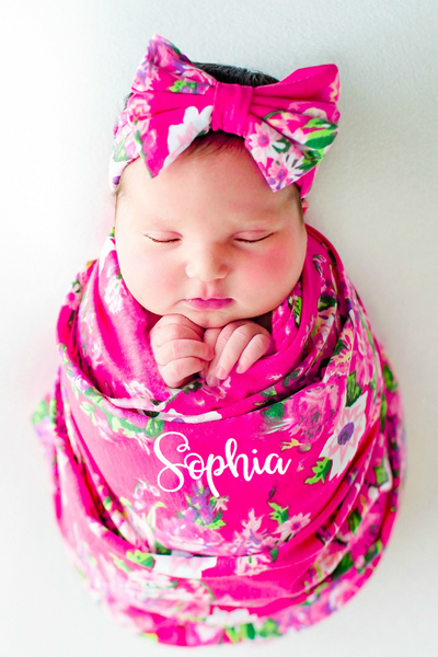Personalized Baby Blanket Hot Pink