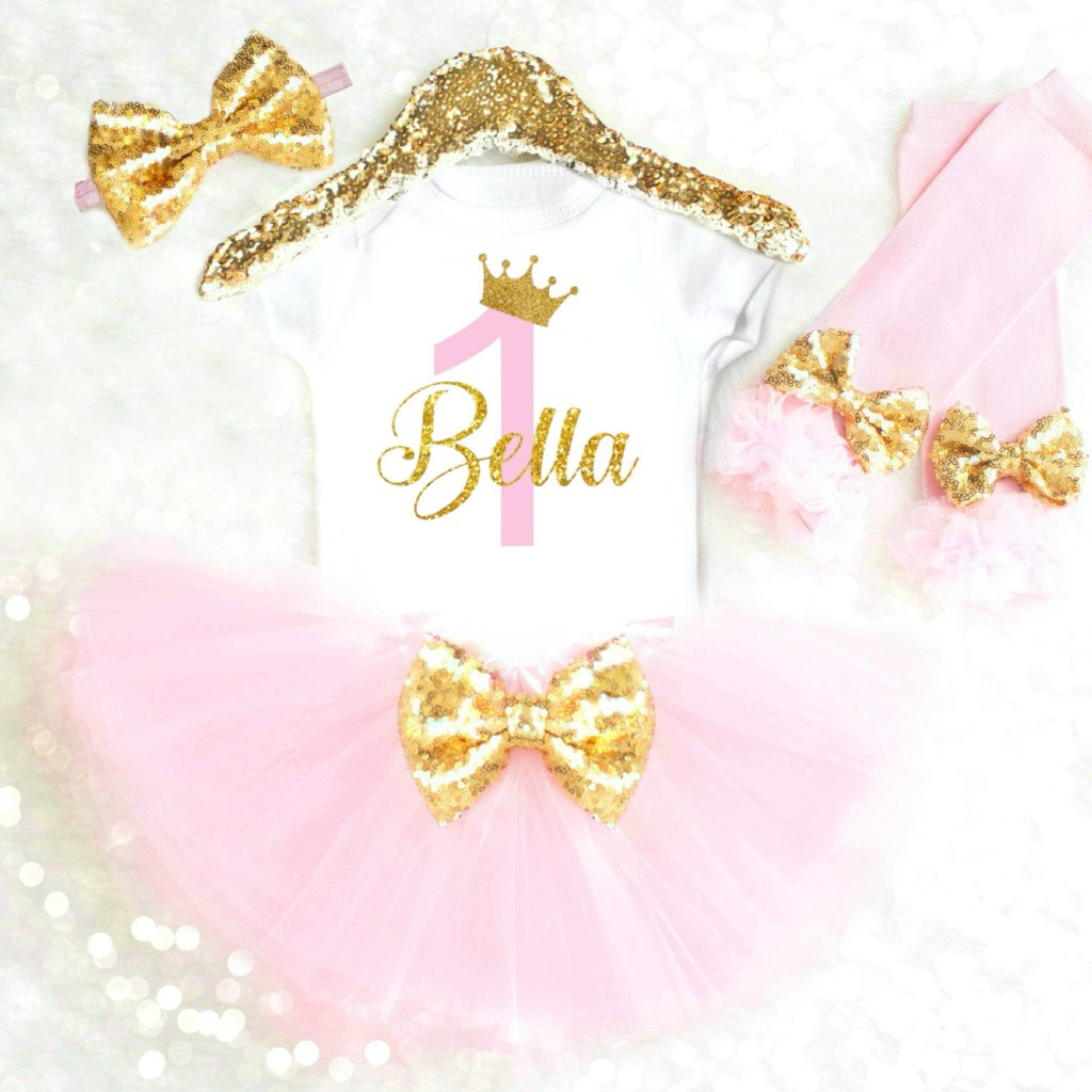 0a28b6dcb Pink and Gold Personalized First Birthday Outfit