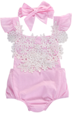 Pink and White Lace Romper Set - Minnie Mouse Birthday Outfit