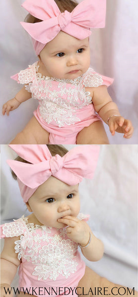 Pink and White Lace Romper Set