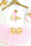Personalized Pink and Gold 1st Birthday Outfit